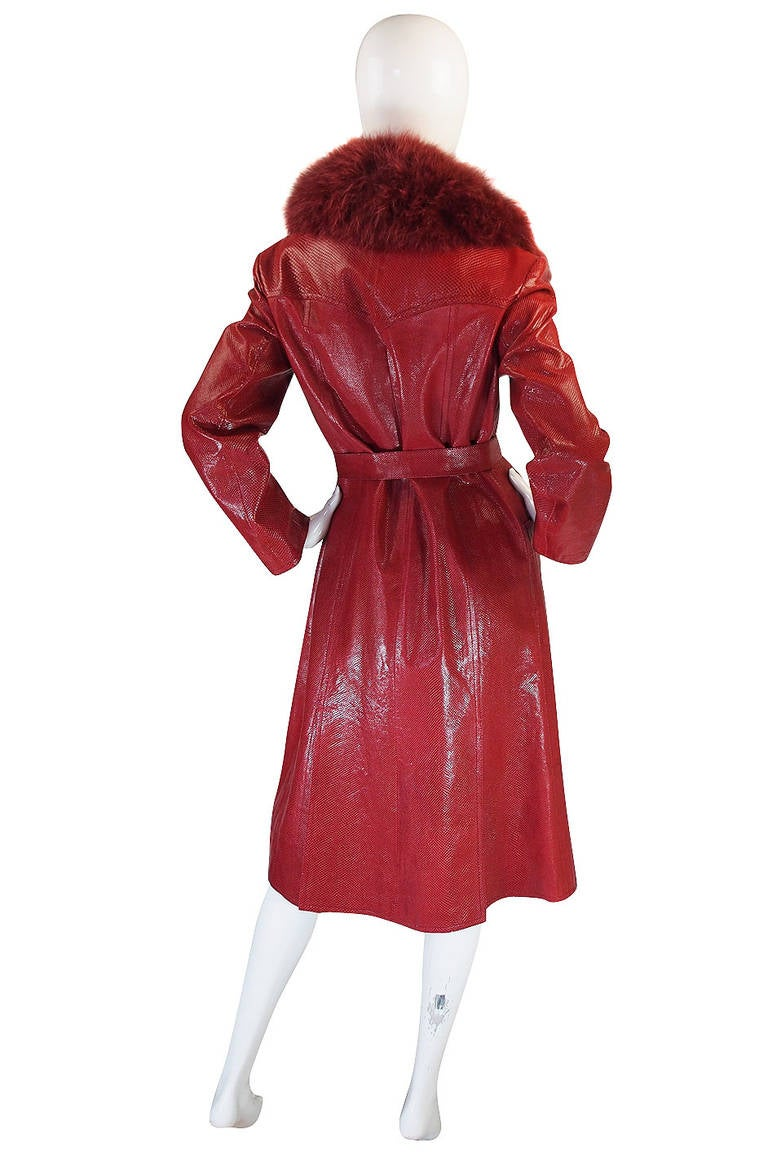 Rare 1970s Red Snakeskin & Fox Gucci Trench Coat 4
