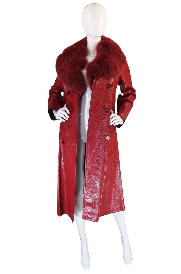 Rare 1970s Red Snakeskin & Fox Gucci Trench Coat 5