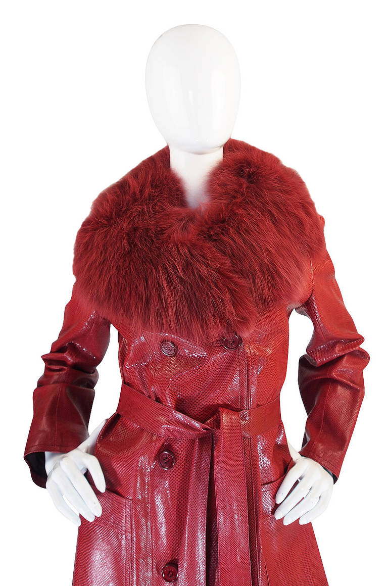 Rare 1970s Red Snakeskin & Fox Gucci Trench Coat 6