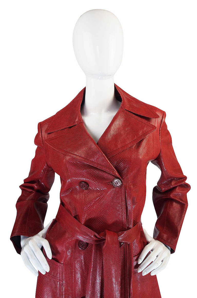 Rare 1970s Red Snakeskin & Fox Gucci Trench Coat For Sale 3