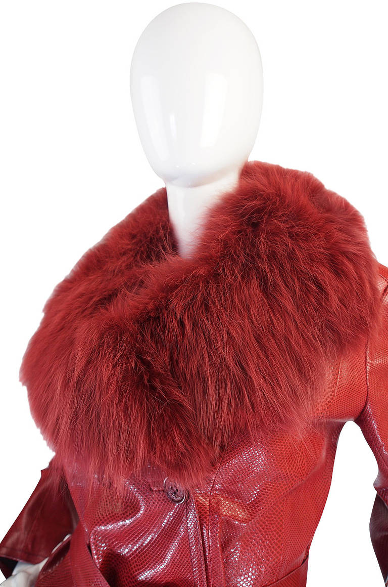 Rare 1970s Red Snakeskin & Fox Gucci Trench Coat 8