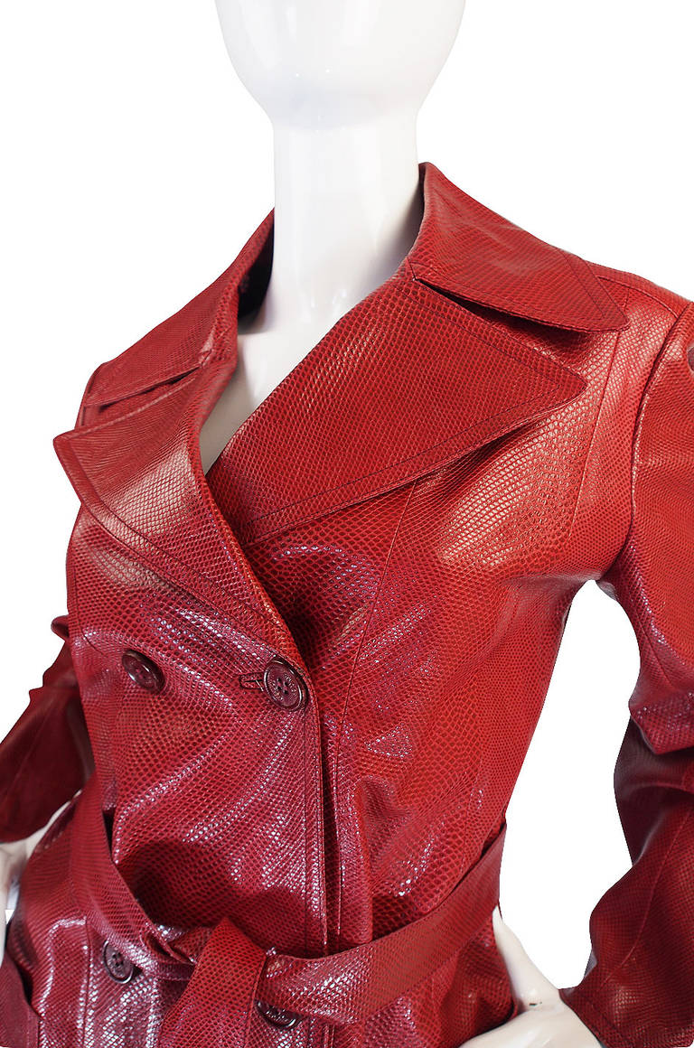Rare 1970s Red Snakeskin & Fox Gucci Trench Coat 9