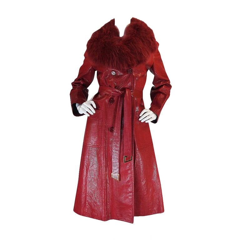 Rare 1970s Red Snakeskin & Fox Gucci Trench Coat 1