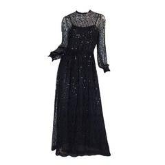 c 1983-85 Heavily Sequinned Chanel Silk Chiffon Dress