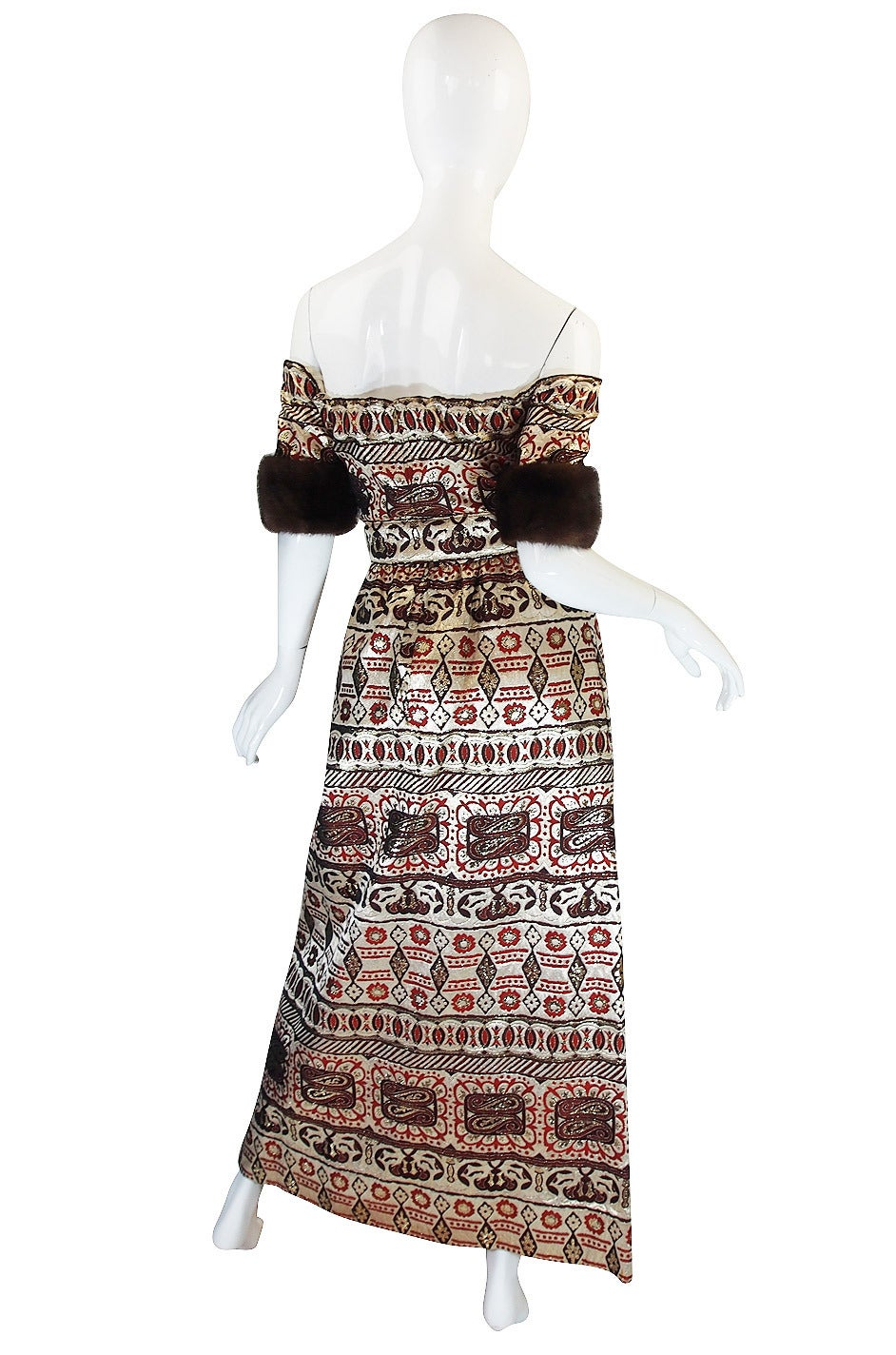 1960s Sable Trim Brocade Oscar de la Renta Gown 2