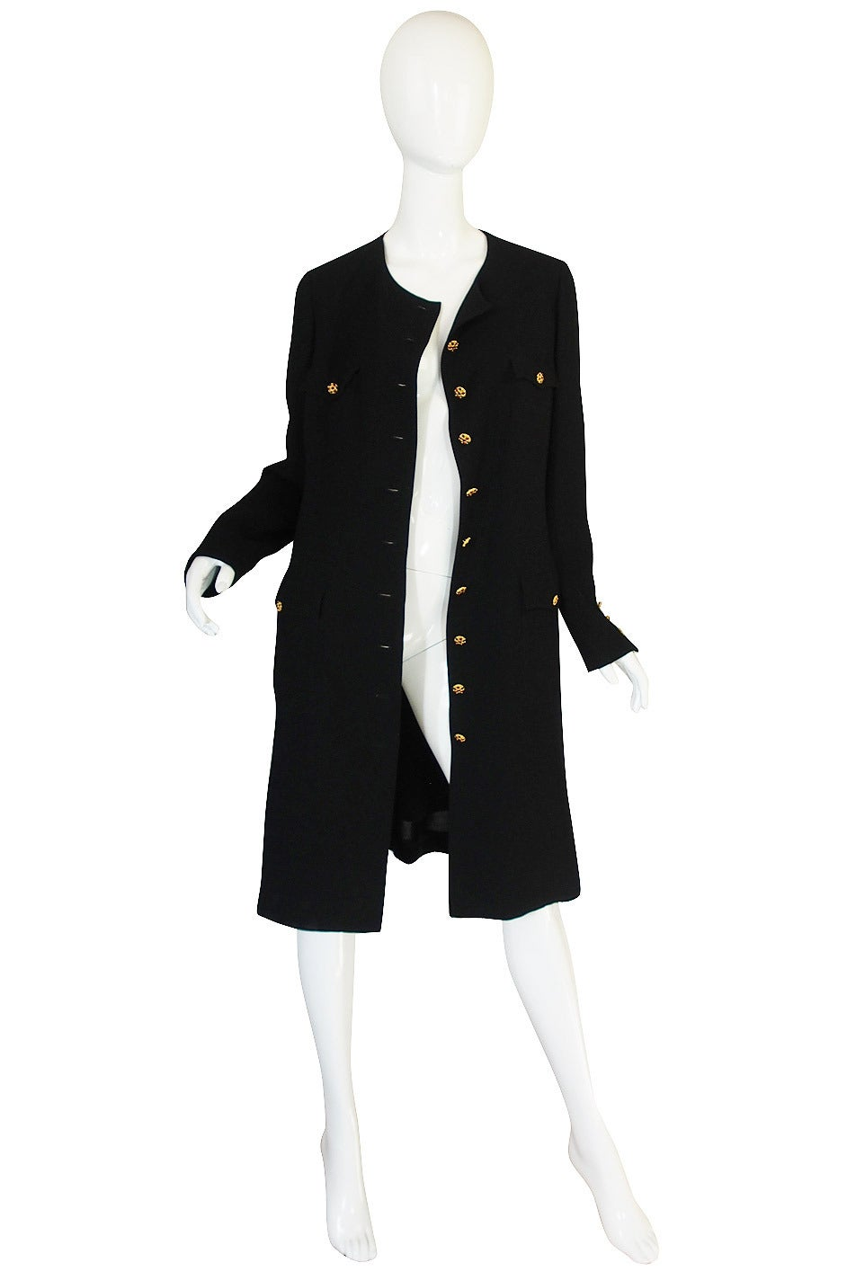 96A Runway Chanel Coat Dress w Cabochon Buttons 3