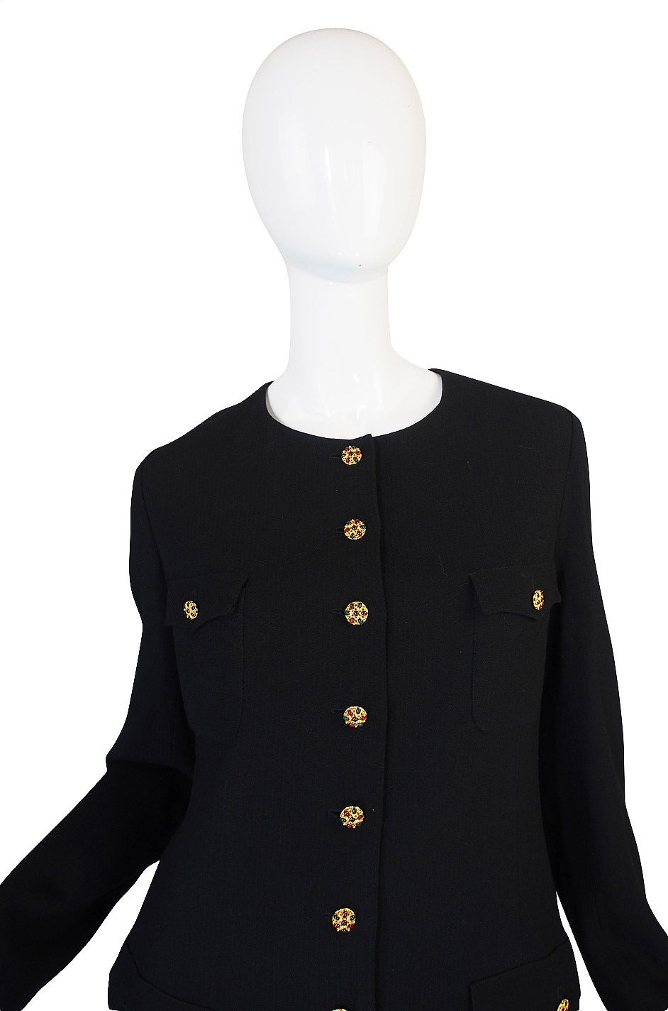 96A Runway Chanel Coat Dress w Cabochon Buttons 4