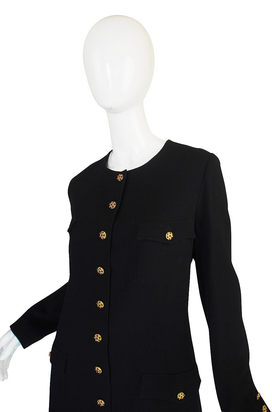 96A Runway Chanel Coat Dress w Cabochon Buttons 5