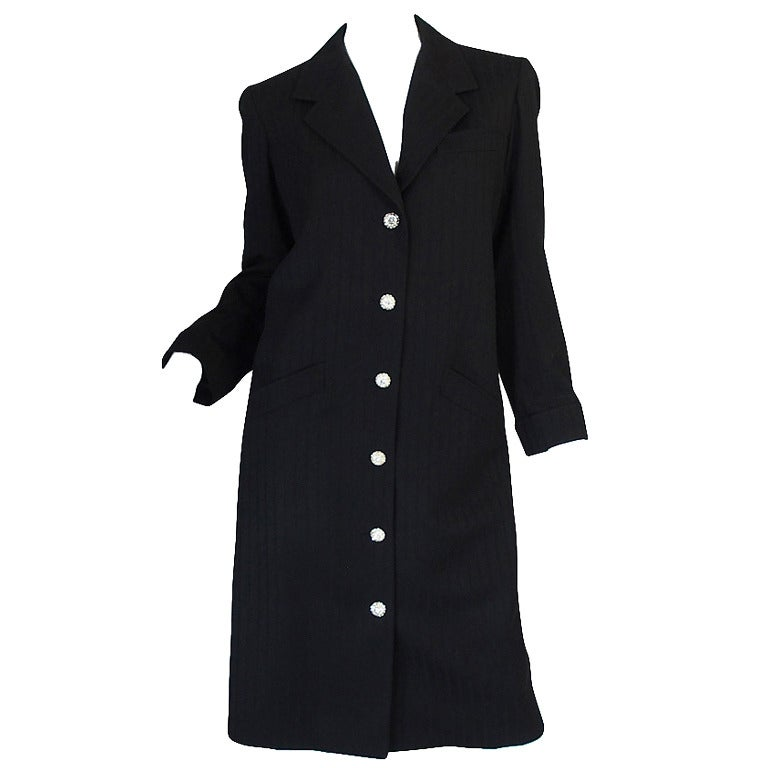 96A Runway Chanel Coat Dress w Cabochon Buttons 1