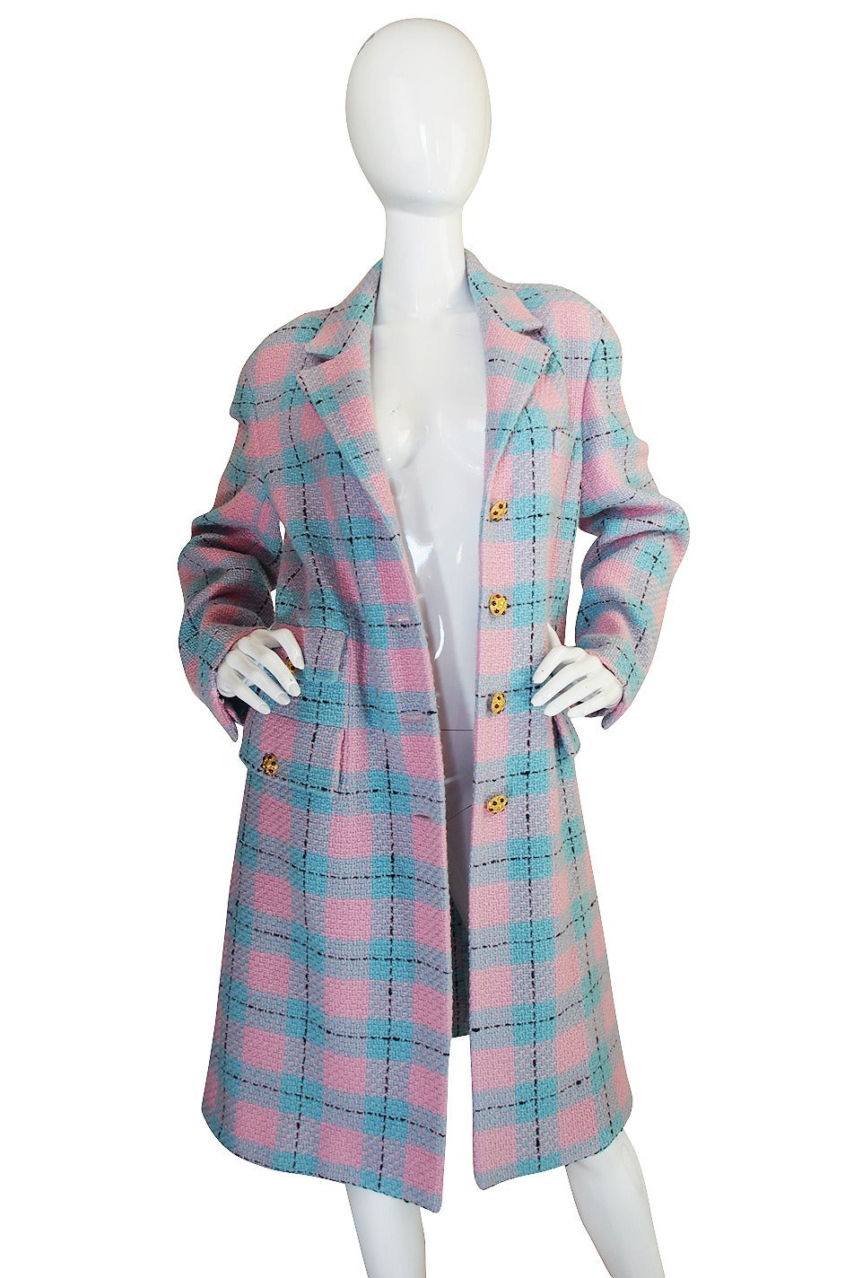 96A Pastel Runway Chanel Coat w Cabochon Buttons 4
