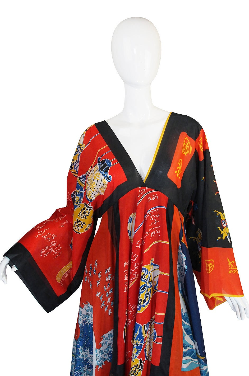 Women's Rare, Early 1970s LaVetta Silk Scarf Caftan Dress For Sale