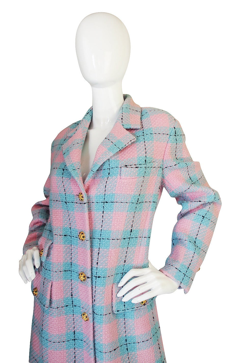 96A Pastel Runway Chanel Coat w Cabochon Buttons 5