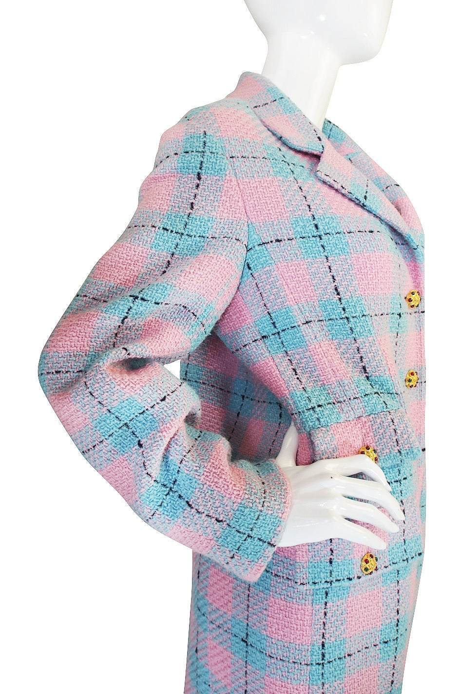 96A Pastel Runway Chanel Coat w Cabochon Buttons 6