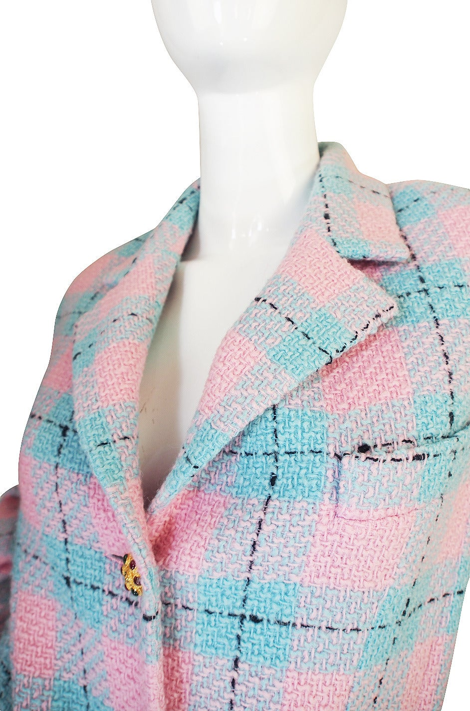 96A Pastel Runway Chanel Coat w Cabochon Buttons 7