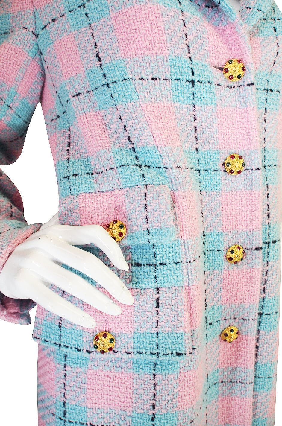 Chanel 96A Pastel Runway Coat with Cabochon Buttons 8