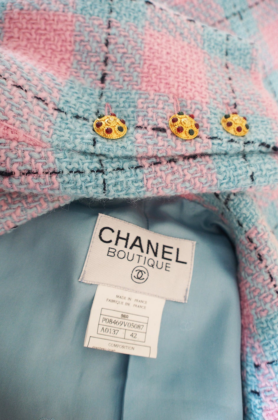 Chanel 96A Pastel Runway Coat with Cabochon Buttons 9