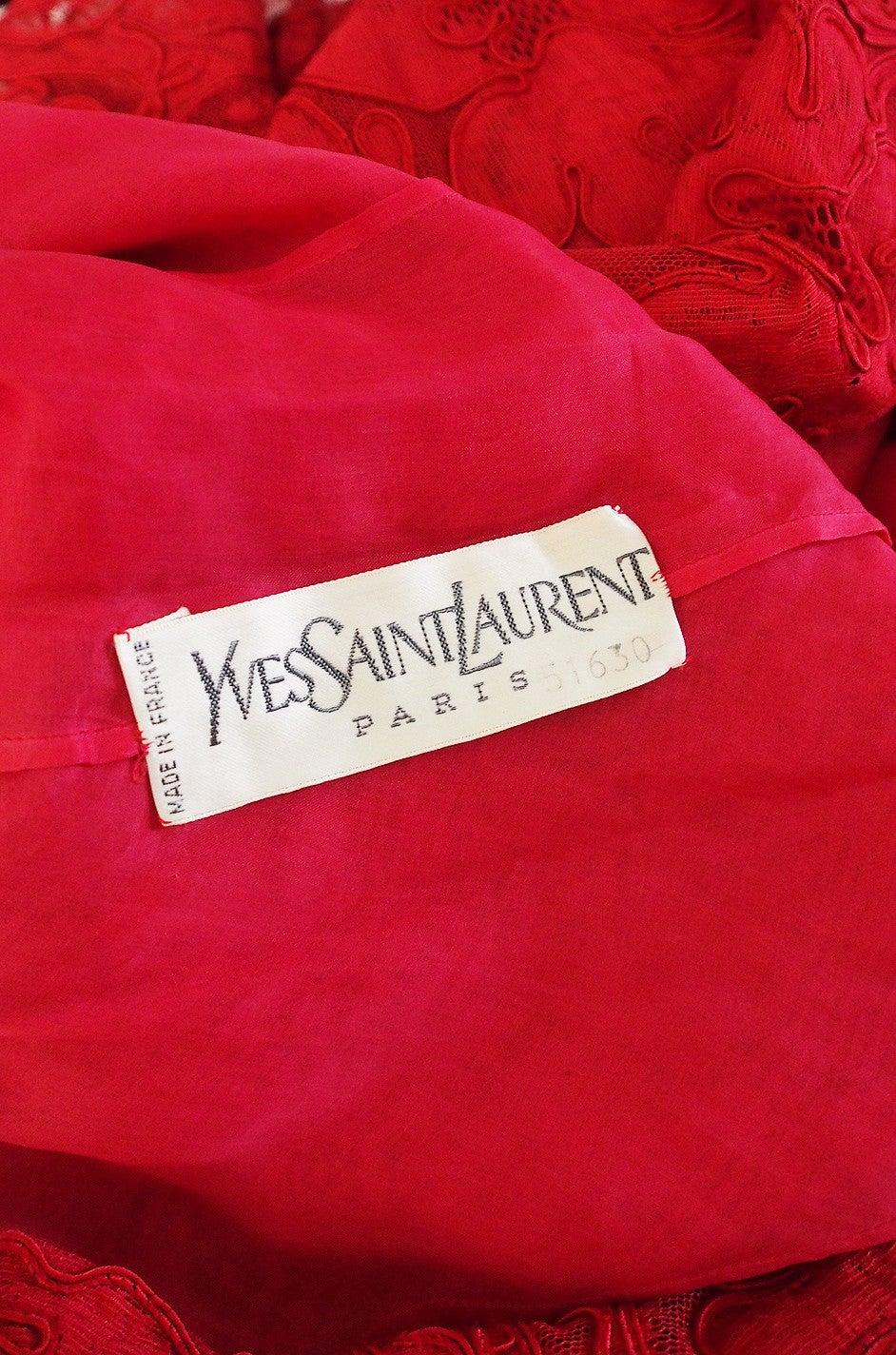 1983 Haute Couture Yves Saint Laurent Lace Dress 10