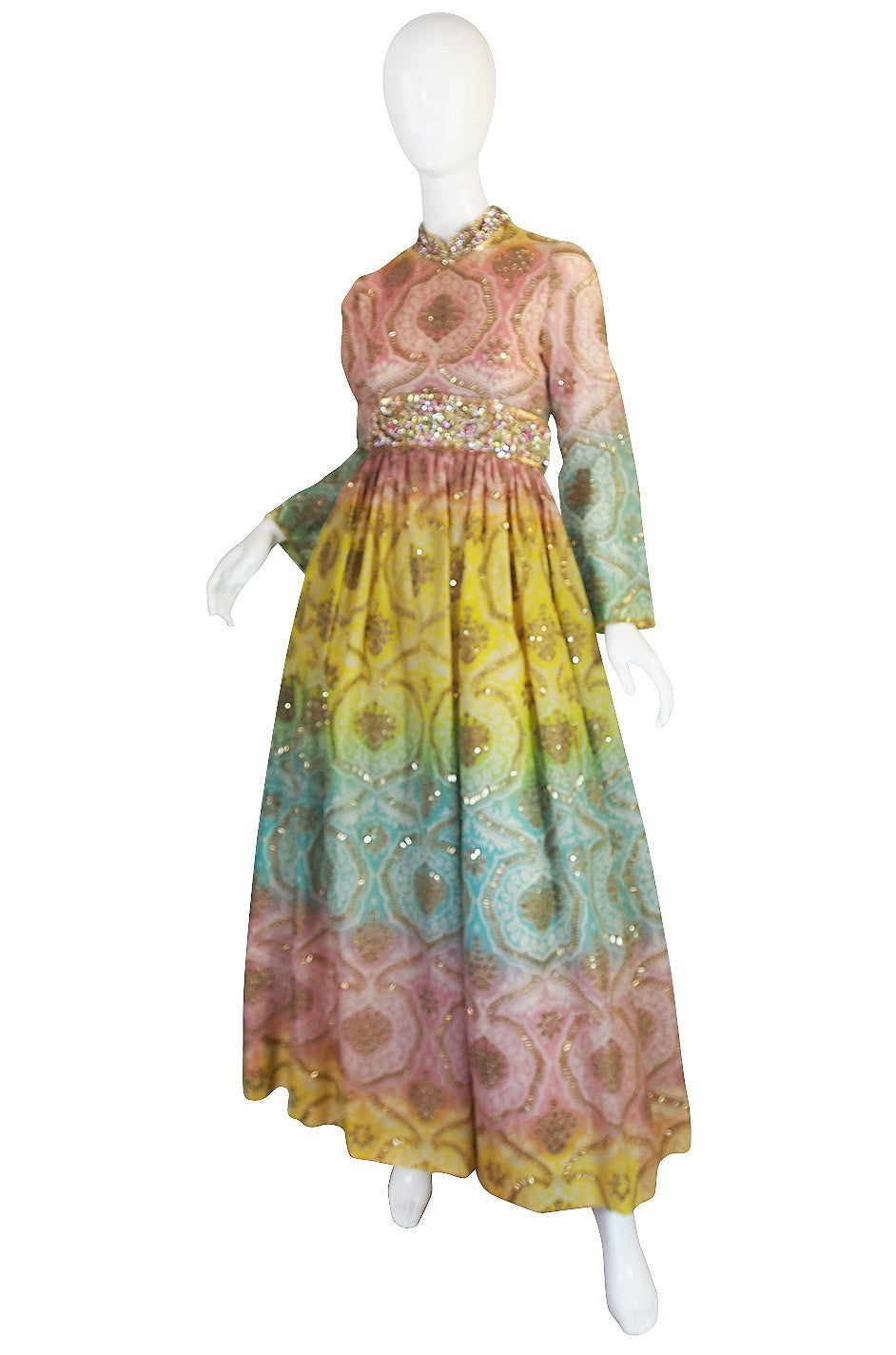 Brown 1960s George Halley Silk & Jewel Gypsy Gown For Sale