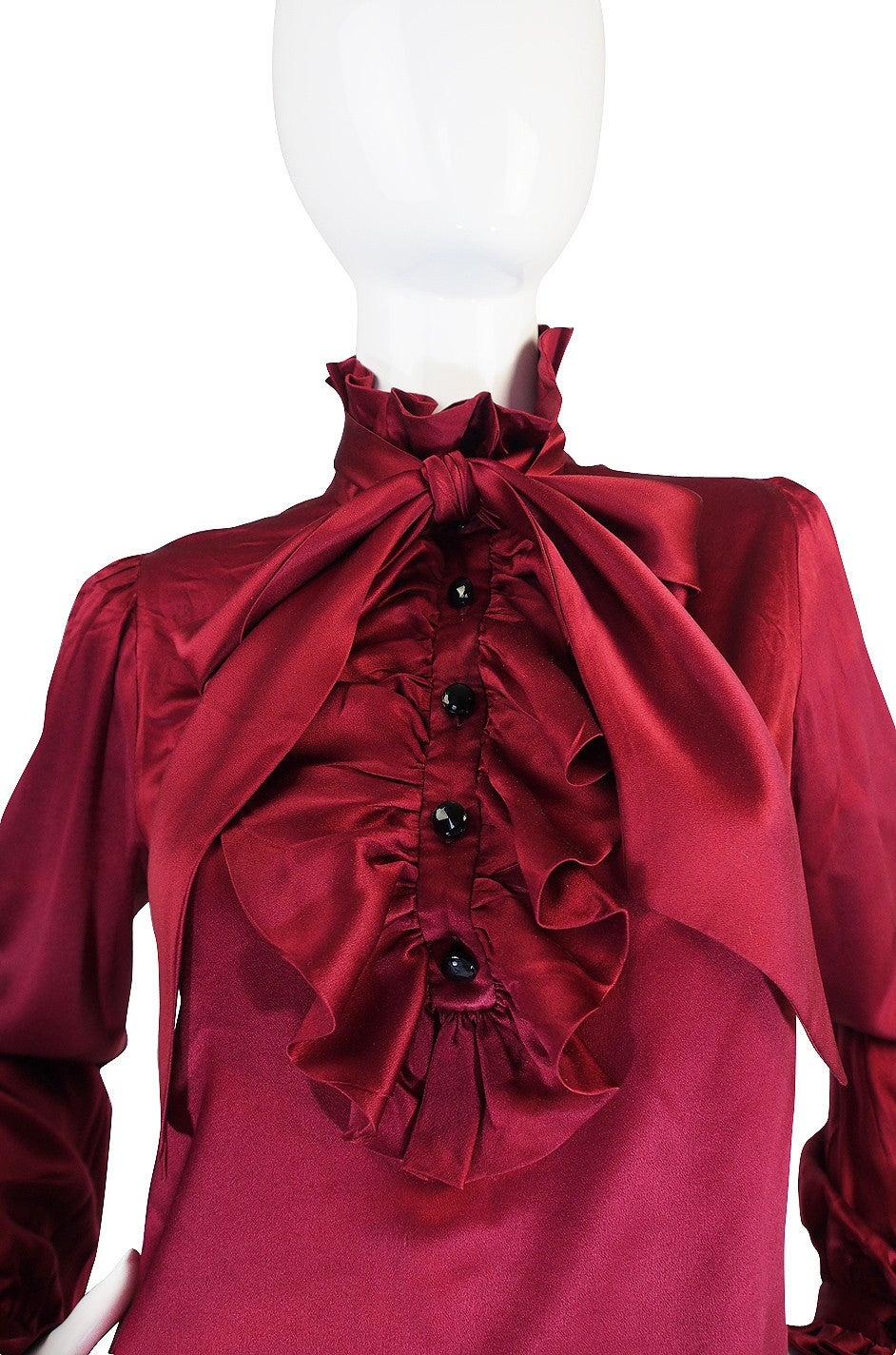 1979 Haute Couture Silk Yves Saint Laurent Top In Good Condition For Sale In Toronto, CA