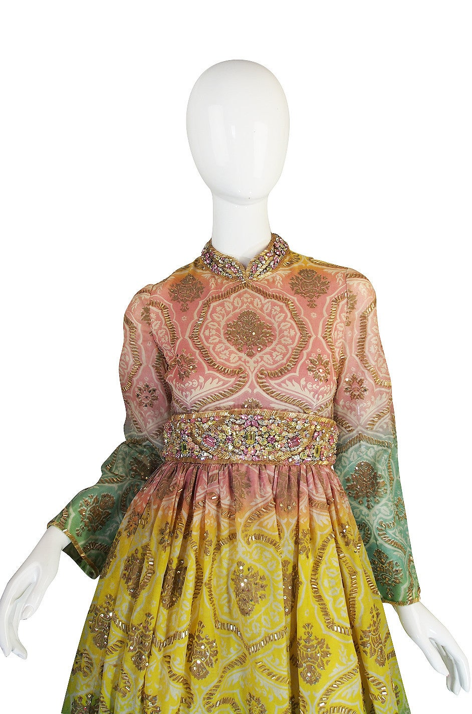 1960s George Halley Silk & Jewel Gypsy Gown In Good Condition For Sale In Toronto, ON