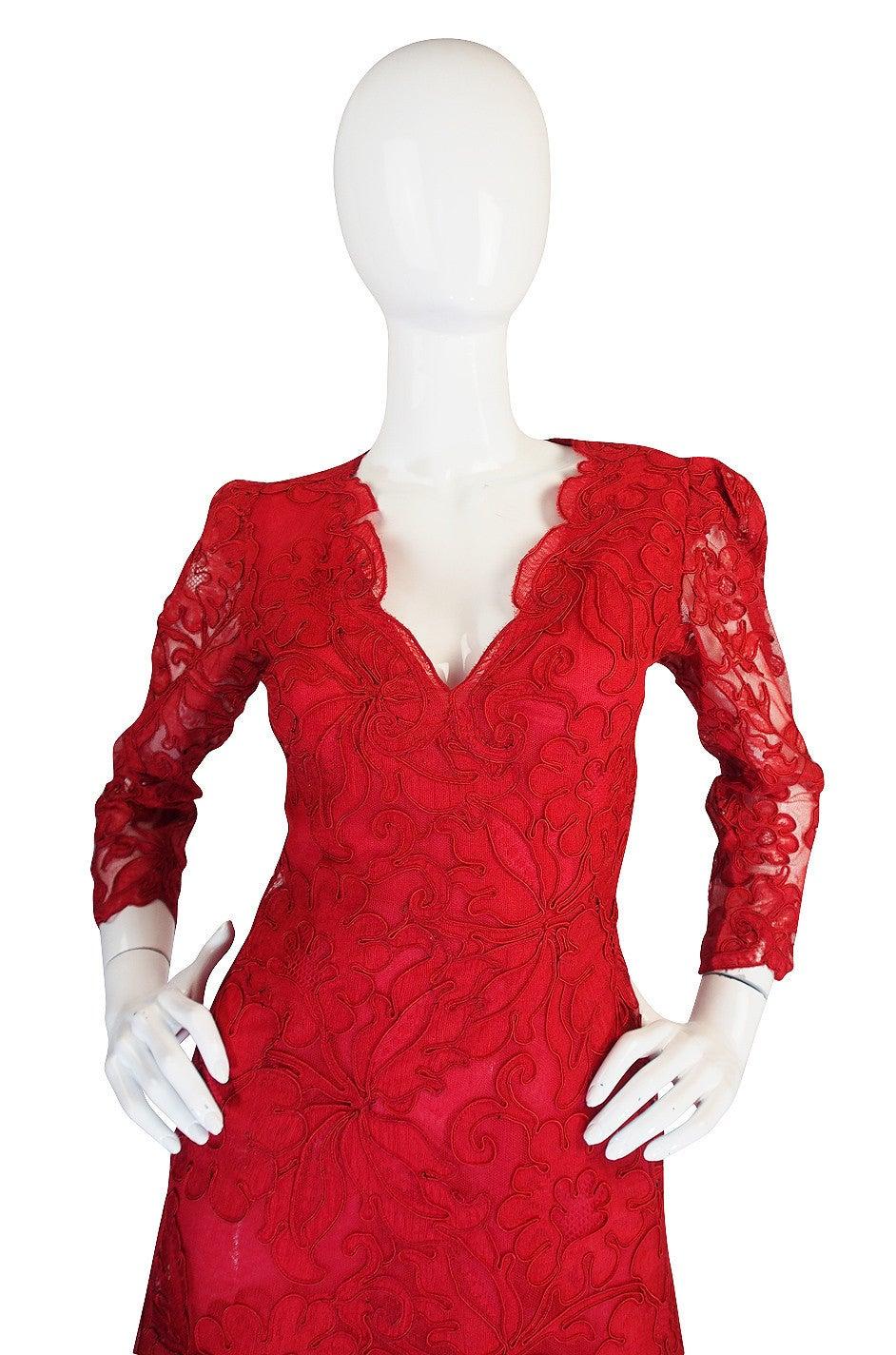 1983 Haute Couture Yves Saint Laurent Lace Dress 4