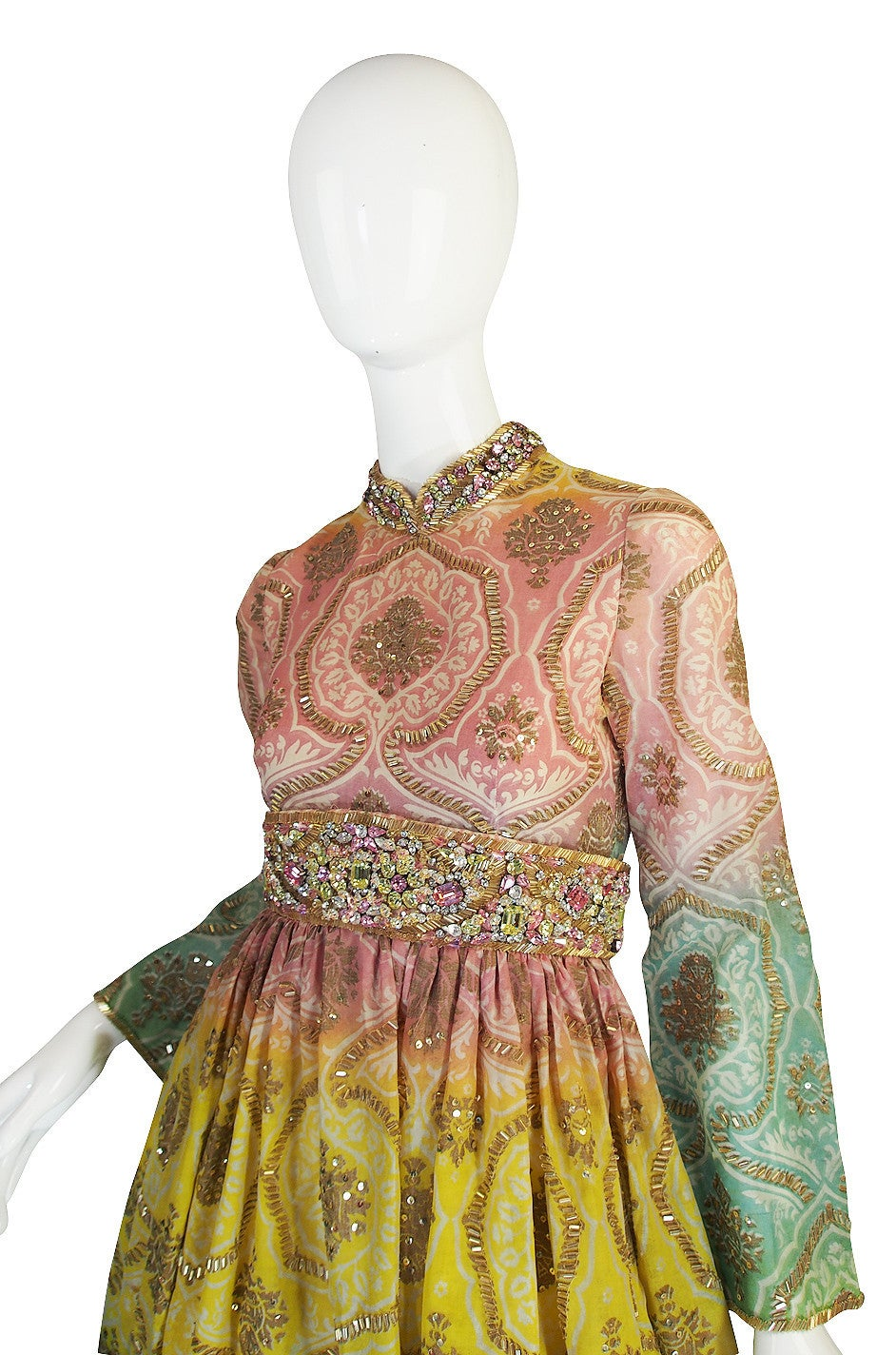 Women's 1960s George Halley Silk & Jewel Gypsy Gown For Sale