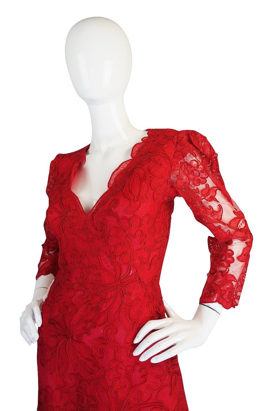 1983 Haute Couture Yves Saint Laurent Lace Dress 5