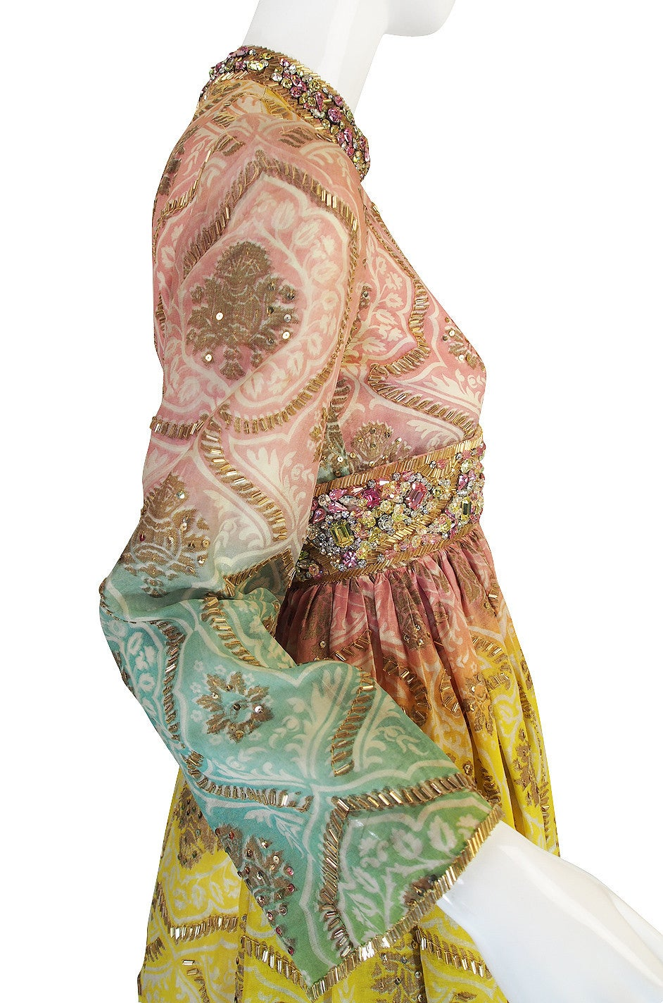 1960s George Halley Silk & Jewel Gypsy Gown For Sale 1