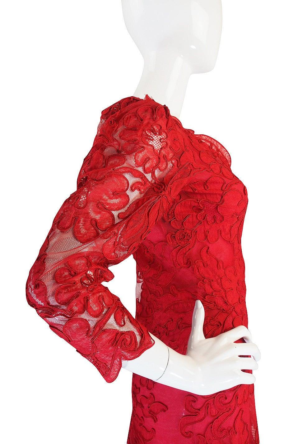 1983 Haute Couture Yves Saint Laurent Lace Dress 6