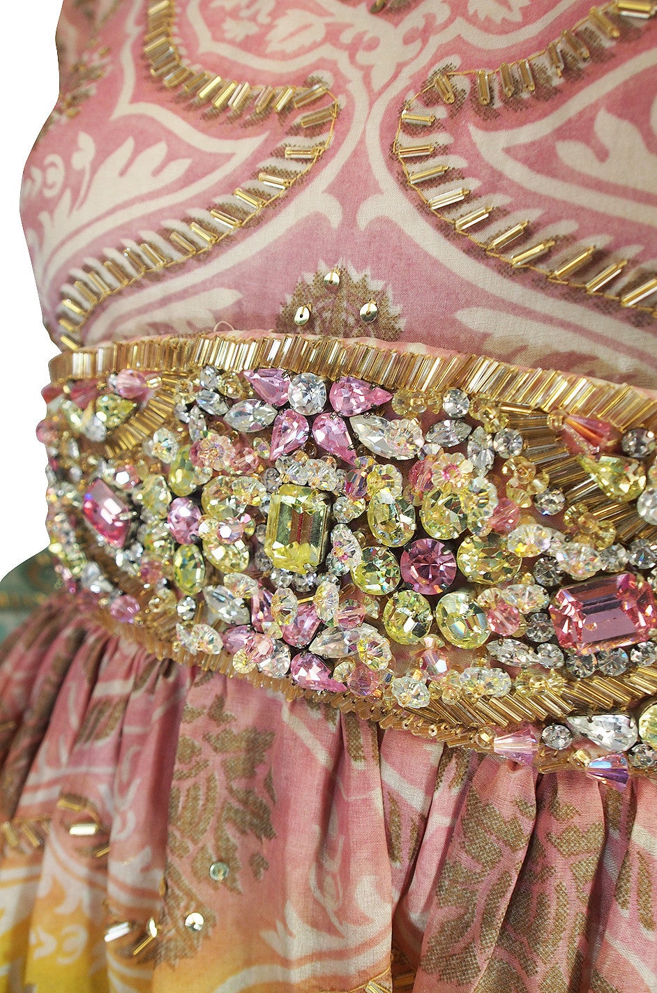 1960s George Halley Silk & Jewel Gypsy Gown For Sale 3