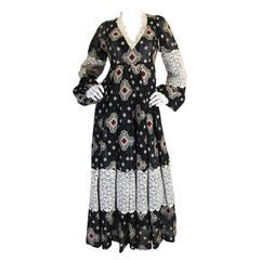 1971 Thea Porter Brocade Cotton Gauze & Lace Dress