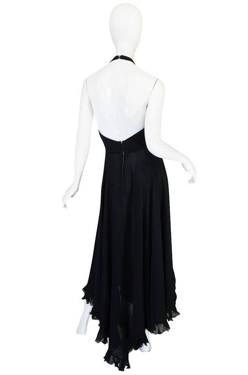 1970s Gorgeous Valentino Backless Silk Chiffon Dress 3
