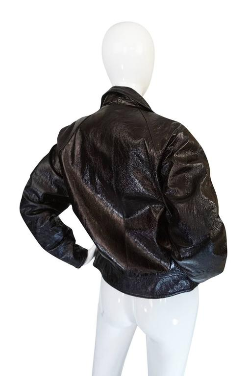 1990s Gianni Versace Patent Leather Motorcycle Jacket 3