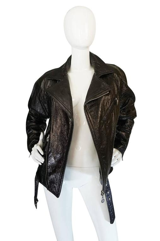 1990s Gianni Versace Patent Leather Motorcycle Jacket 4