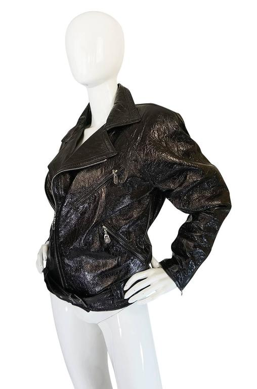 1990s Gianni Versace Patent Leather Motorcycle Jacket 2
