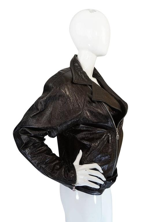 1990s Gianni Versace Patent Leather Motorcycle Jacket 5