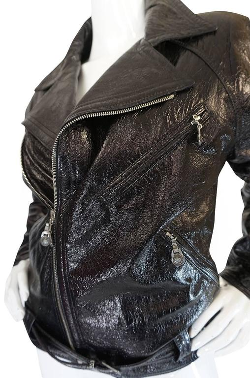 1990s Gianni Versace Patent Leather Motorcycle Jacket 6