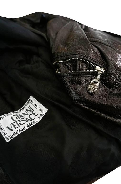 1990s Gianni Versace Patent Leather Motorcycle Jacket 7