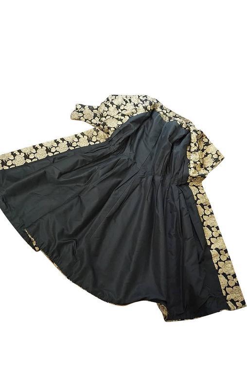 "1950s Rich Gold Thread Silk Brocade ""New Look"" Coat 10"