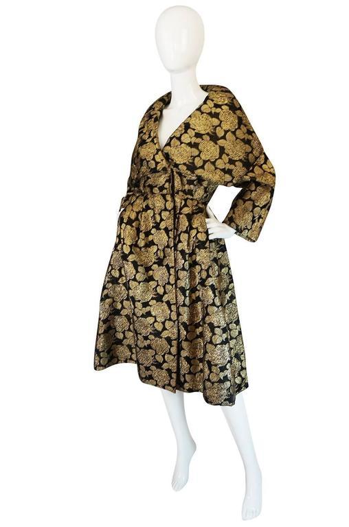 "1950s Rich Gold Thread Silk Brocade ""New Look"" Coat 3"