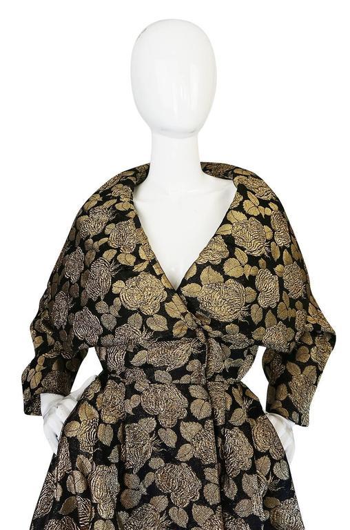 "1950s Rich Gold Thread Silk Brocade ""New Look"" Coat 7"