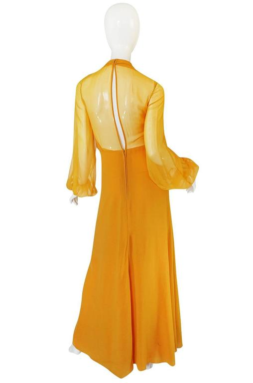 1970s Transparent Silk Chiffon & Crepe Couture Galanos Dress 2