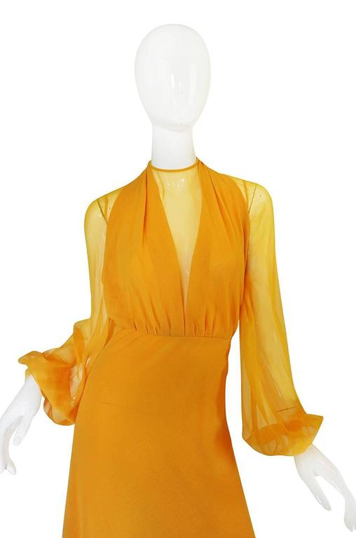 Women's 1970s Transparent Silk Chiffon & Crepe Couture Galanos Dress For Sale