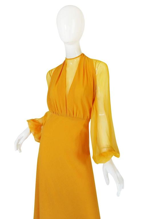 Orange 1970s Transparent Silk Chiffon & Crepe Couture Galanos Dress For Sale