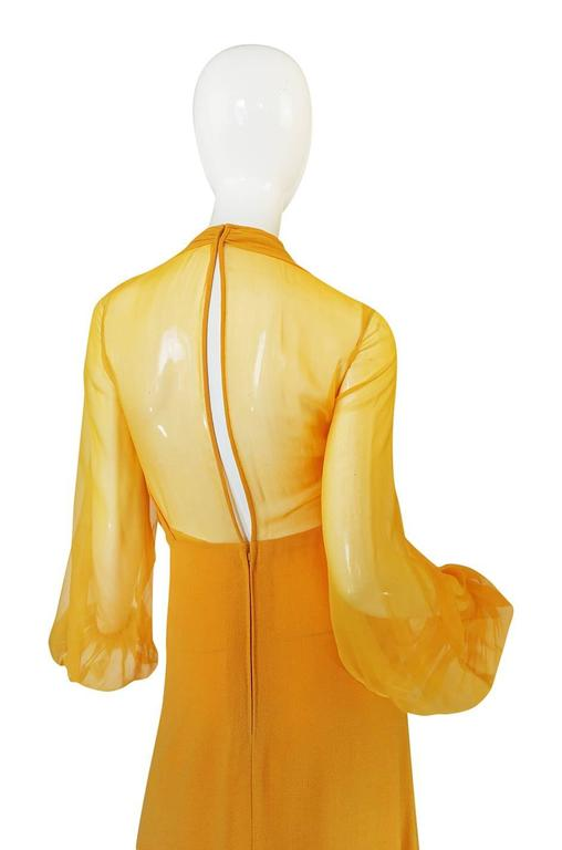 1970s Transparent Silk Chiffon & Crepe Couture Galanos Dress 4