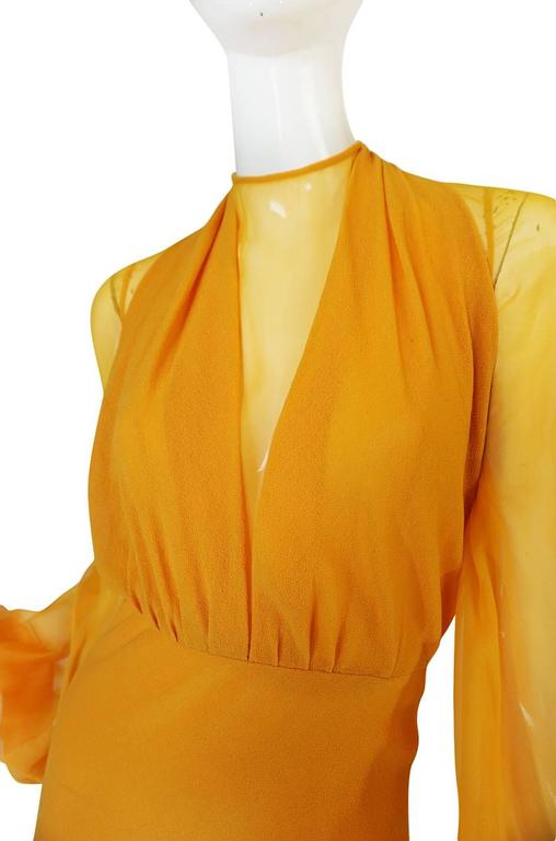 1970s Transparent Silk Chiffon & Crepe Couture Galanos Dress For Sale 2