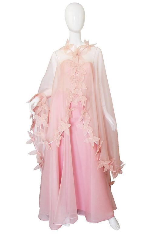 Dramatic 1975 Loris Azzaro Couture Pink Silk Gown & Cape 2