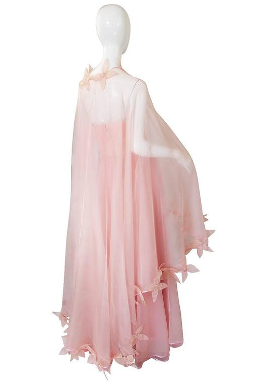Dramatic 1975 Loris Azzaro Couture Pink Silk Gown & Cape 3