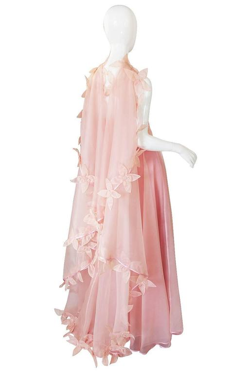 Dramatic 1975 Loris Azzaro Couture Pink Silk Gown & Cape 4