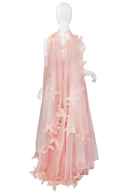 Dramatic 1975 Loris Azzaro Couture Pink Silk Gown & Cape 5
